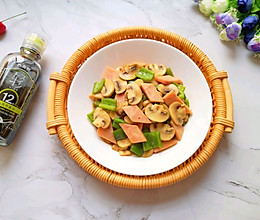 #助力高考营养餐#午餐肉炒口蘑的做法