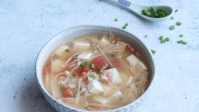 金针菇虾仁豆腐汤#花10分钟,做一道菜!#