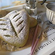 #晒出你的团圆大餐#菠菜红豆肉松麻薯软欧面包