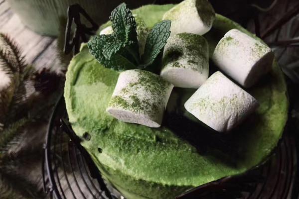 和风竹炭抹茶布丁蛋糕的做法