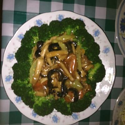 蚝油海参海鲜菇