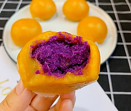 #秋天怎么吃#南瓜紫薯糯米糍的做法