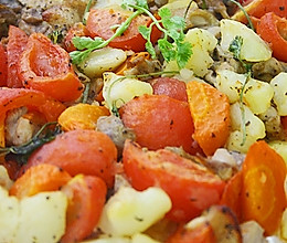 土豆番茄红萝卜焗鸡肉的做法