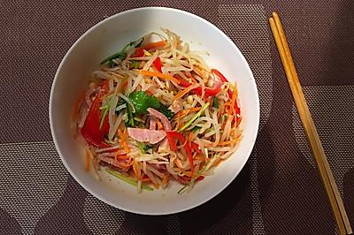 10分钟快手菜,花椒油凉拌五彩豆芽