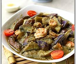 青咖喱虾酱烩茄子的做法