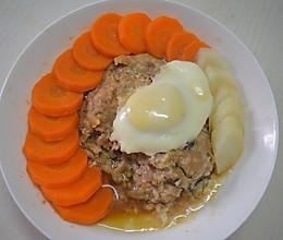 红萝卜+山药+马蹄蒸肉饼+蒸蛋的做法