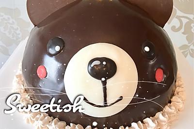 焦糖岩盐戚风小熊蛋糕