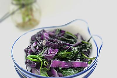 紫甘蓝炒红薯叶