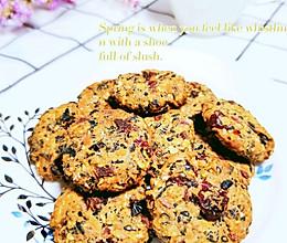 #豆果10周年生日快乐#低脂无油蔓越莓五黑麦片饼干的做法