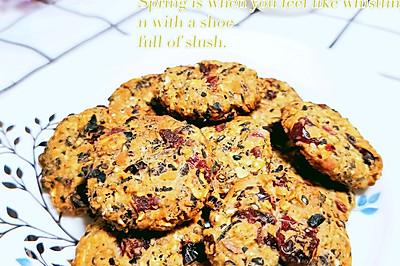 低脂无油蔓越莓五黑麦片饼干