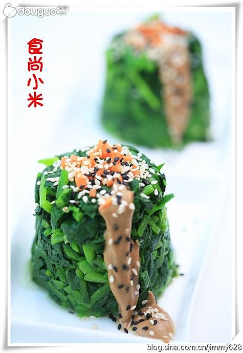 双色芝麻菠菜墩的做法