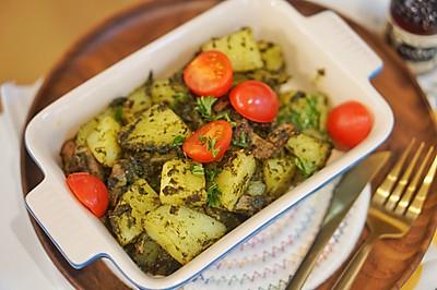 3步骤懒人烤箱菜,罗勒青酱培根土豆