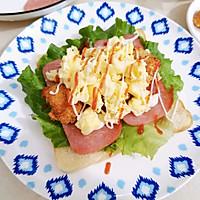 #尽享安心亲子食刻#盐酥鸡滑蛋三明治的做法图解7