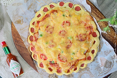 鸡肉萨拉米肠花边披萨