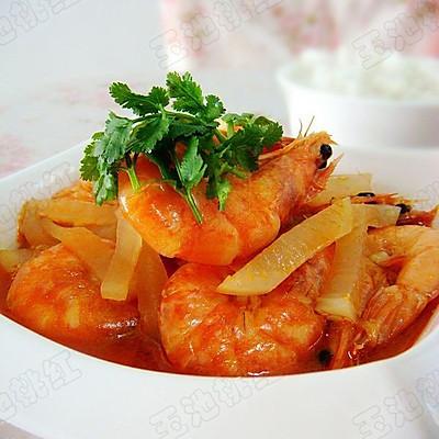 白萝卜炖虾