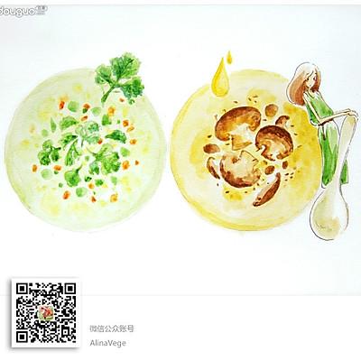 汤粥两例(素奶油蘑菇汤、芹叶咸粥)清新香浓两相宜