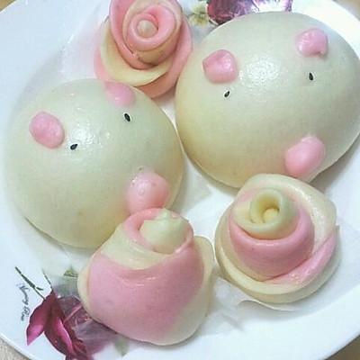 小朋友最爱的——小猪 玫瑰馒头