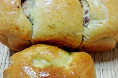 豆沙馅汤种吐司面包(玉米油手揉版)
