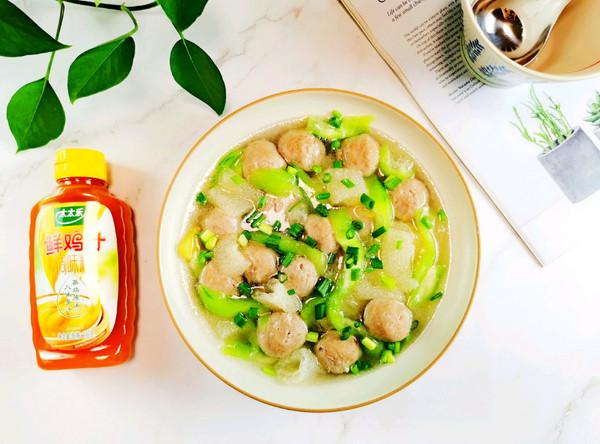 竹荪丝瓜牛肉丸汤~太太乐鲜鸡汁蒸鸡原汤