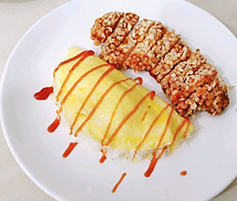 #全电厨王料理挑战赛热力开战!奥尔良鸡排蛋包饭的做法