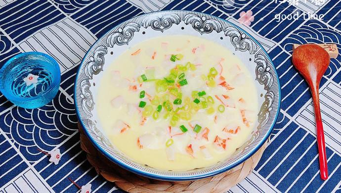 #晒出你的团圆大餐# 豆浆蟹柳蒸水蛋(经典家常粤菜)