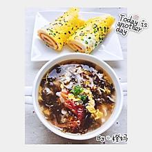 鸡蛋饼➕番茄紫菜虾皮蛋花汤