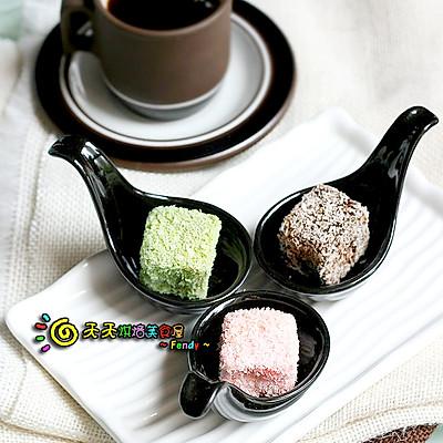 抹茶、草莓、巧克力林明顿蛋糕