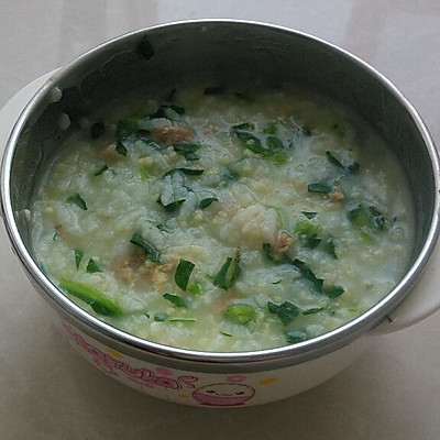 宝宝辅食——肉末青菜二米粥
