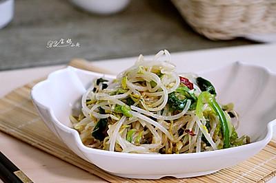 绿豆芽拌芹菜叶