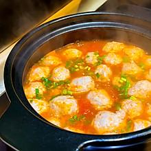 #助力高考营养餐# 番茄丸子汤,这样做的肉丸子才细腻嫩滑