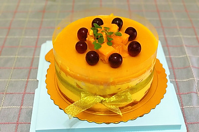 芒果镜面流心慕斯蛋糕