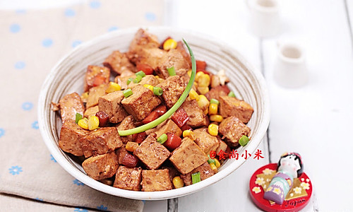 肉丁胡萝卜玉米粒烧豆腐的做法