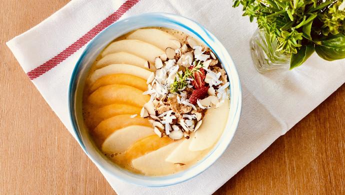健康快手的早餐:蜜桃苹果思慕雪#一人一道拿手菜#