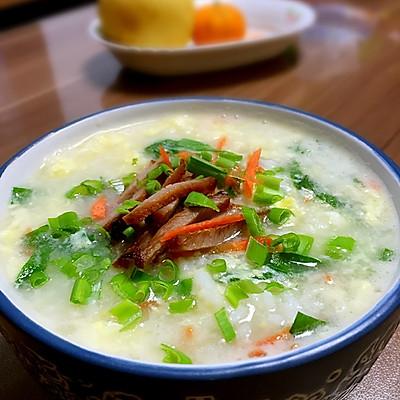 蛋滑蔬菜粥