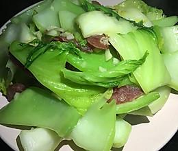 腊肠炒芥菜的做法