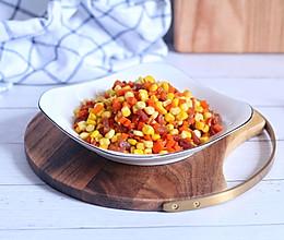 腊肠炒红萝卜玉米的做法