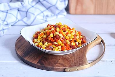 腊肠炒红萝卜玉米