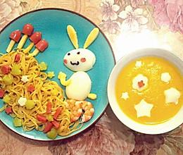 小白兔采蘑菇儿童早餐的做法