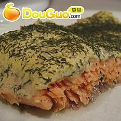 奶油莳萝烤三文鱼的做法
