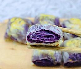 【手抓饼版】紫薯小四卷的做法