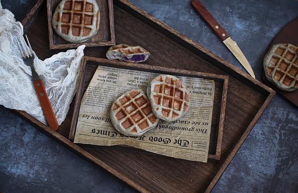 黑芝麻紫薯华夫饼(酵母版)的做法