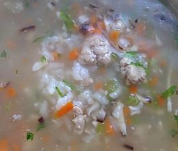 杂菜瘦肉粥的做法