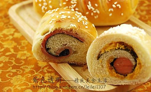 肉松香肠包and培根海苔包的做法