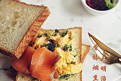 【香椿烟熏鲑鱼三明治】
