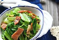 培根炒芥菜的做法