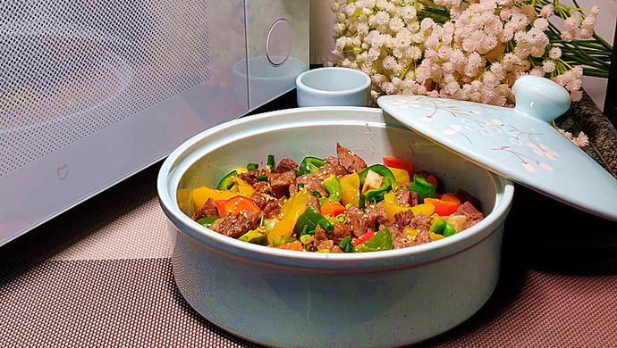 营养丰富又好吃的杏鲍菇彩椒牛肉粒,不用明火也可以做