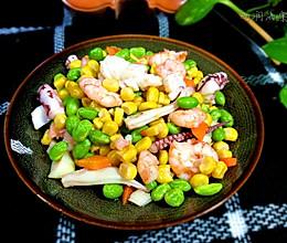 海鲜青豆玉米粒的做法