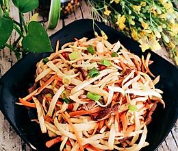 #花10分钟,做一道菜!#茭白炒肉丝的做法