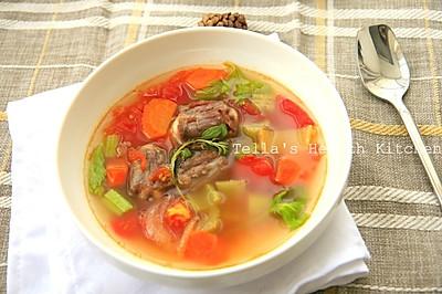 补钙补铁大户。杂蔬牛尾汤。