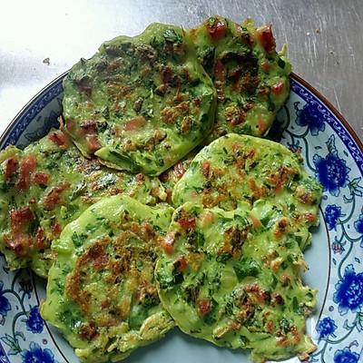 宝宝早餐食谱:青菜火腿鸡蛋饼+玉米面粥
